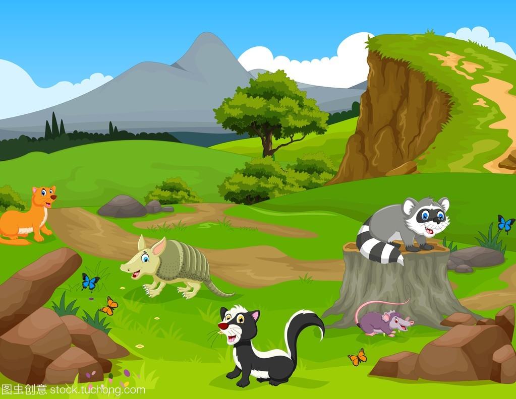 搞笑动物卡通在丛林风景背景
